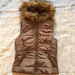 Forever 21 Brown Puffer Hooded Vest Jacket Small